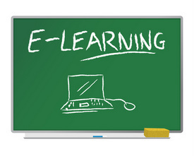 blackboard with e-learning written on it