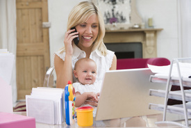 Mother and baby, work at home, home office, laptop,