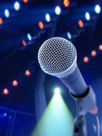 Microphone, large mic, band equipment, stage equipment,