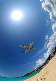 Travel, plane, beach, sky, tropics, holiday, vacation, flight,